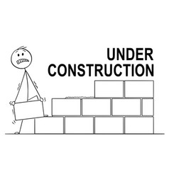 cartoon of mason or bricklayer building a wall vector image