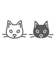 cat line and glyph icon animal and zoo pet sign vector image