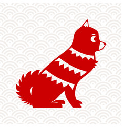 Chinese new year 2018 red paper cut dog art vector