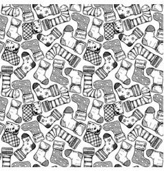 christmas vintage stockings pattern vector image