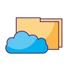 cloud computing folder information data storage vector image