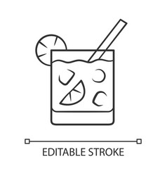 Cocktail in lowball glass linear icon refreshing vector