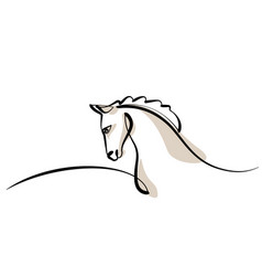 continuous one line drawing horse head logo vector image