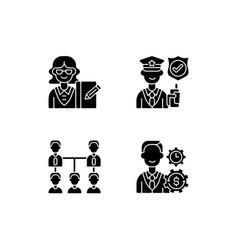 Corporation hierarchy black glyph icons set vector
