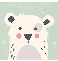 Cute polar bear with snowflakes green background vector