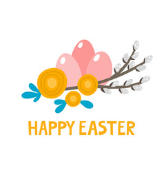 cute rabbit character and elements for easter vector image