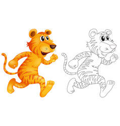 Doodle animal for wild tiger vector