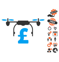 Drone pound business icon with love bonus vector