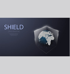 earth and shield iconprotected guard shield vector image