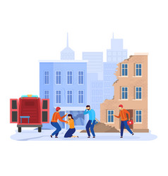 Earthquake disaster in city emergency rescue vector