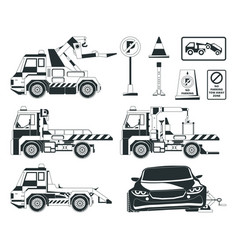 Evacuator cars monochrome pictures isolated vector
