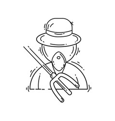 farming farmer icon hand drawn icon set outline vector image
