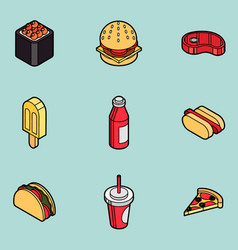 Fast food outline color isometric icons vector