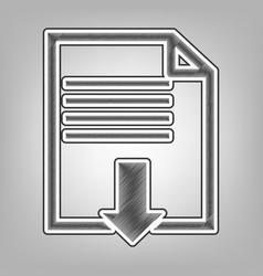 file download sign pencil sketch vector image