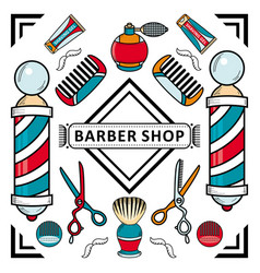 Flat barber shop poster with tools icon vector