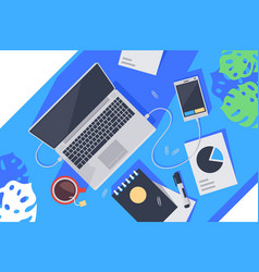 flat desktop top view with laptop tea notebook vector image