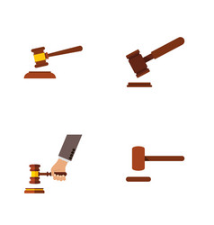 flat icon lawyer set of hammer defense justice vector image