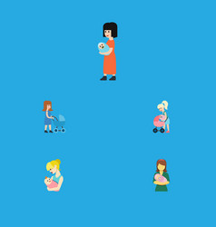 Flat icon mam set mother perambulator parent vector