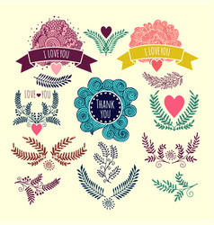 frameshand drawing set of vintage design elements vector image
