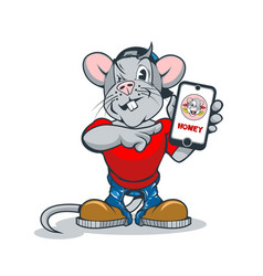funny cartoon rat with a phone in his hand showing vector image