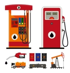 Gas pumps and flat oil industry icons vector