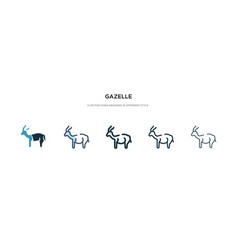 Gazelle icon in different style two colored and vector