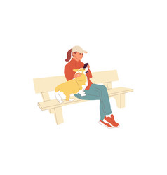 Girl is sitting with a dog outdoors petting and vector