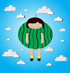 Girl watermelon vector