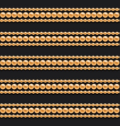 gold chains and beads horizontal lines seamless vector image