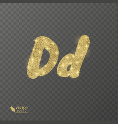golden shiny letter d on a transparent background vector image