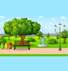 Green city park with town buildings vector