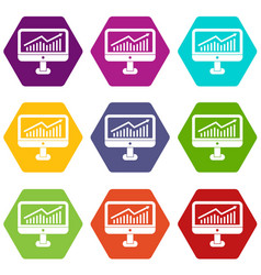 Growth graph on the computer monitor icon set vector