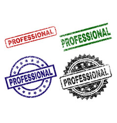grunge textured professional seal stamps vector image
