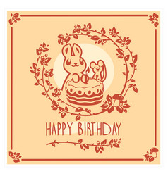 Happy birthday greeting card with cute vector