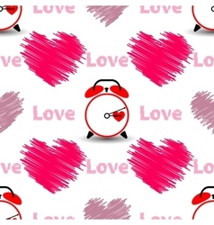 Hearts with the word love and watch Seamless vector image vector image