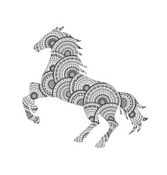 Horse silhouette from mandala coloring page vector