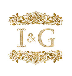 I and g vintage initials logo symbol the letters vector