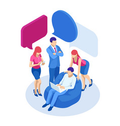 isometric concept discussing chatting vector image