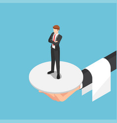 isometric waiter hand serve businessman vector image