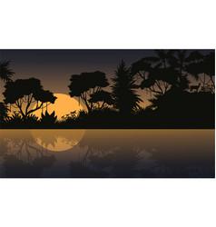Jungle scenery silhouettes vector