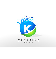 K letter logo blue green splash design vector