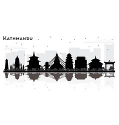 Kathmandu nepal city skyline silhouette with vector