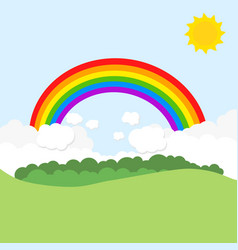 landscape with rainbow and sun vector image