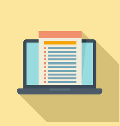 Laptop audit icon flat style vector