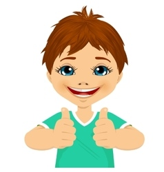 little boy showing two thumbs up vector image