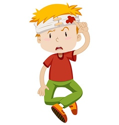Little boy with his head wrapped vector