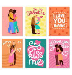 Love hugs vertical cards vector