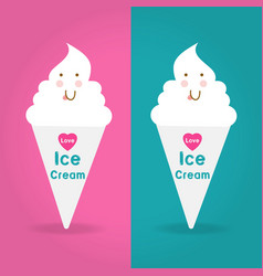 Love ice cream logo on two color ways background vector