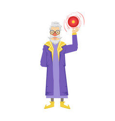 magic witch wizard with crystal ball colorful vector image