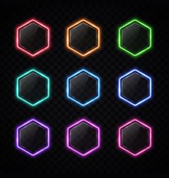 modern neon hexagon frame set on transparent vector image
